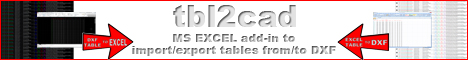 tbl2cad - Excel add-in to import/export DXF tables