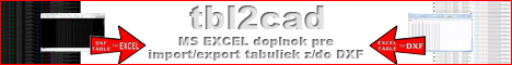 tbl2cad - Excel doplnok pre import/export DXF tabuliek